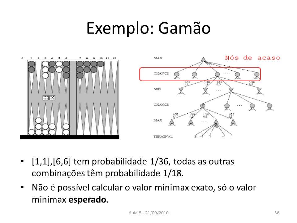 Exemplo: Gamão[1,1],[6,6] tem probabilidade 1/36, todas as outras combinações têm probabilidade 1/18.